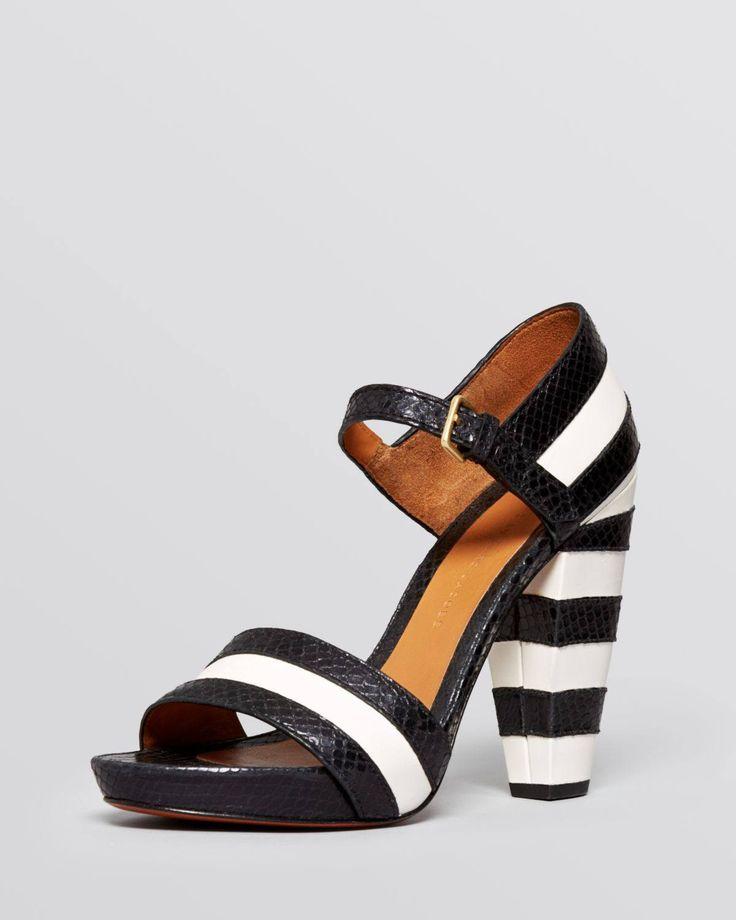 MARC by Marc Jacobs Black Open Toe Platform Sandals Snakeembossed Striped High Heel