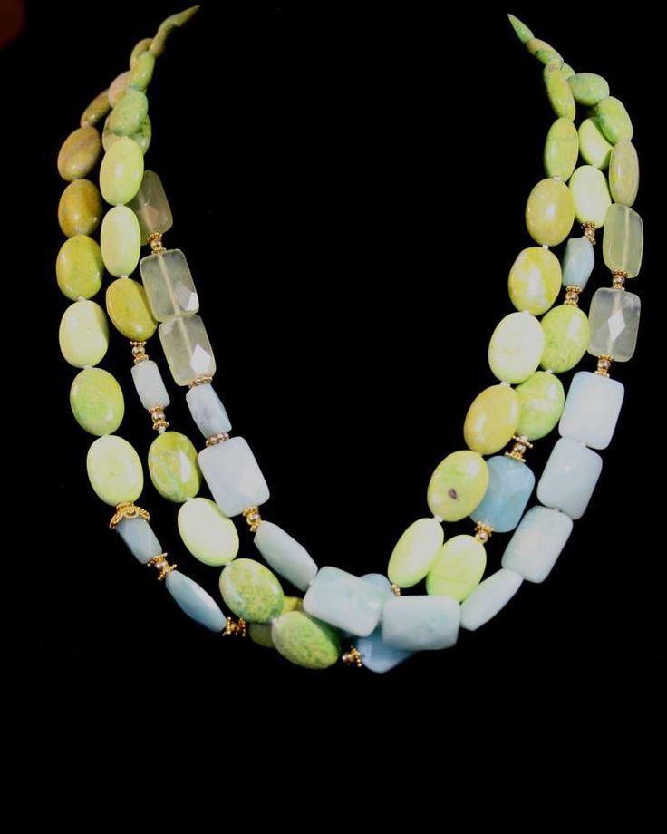 Dreireihige Halskette Türkis Prehnit Amazonit
