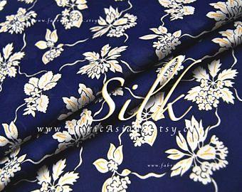 Tessuto di seta blu floreale bianco - achat tissu de soie imprimé