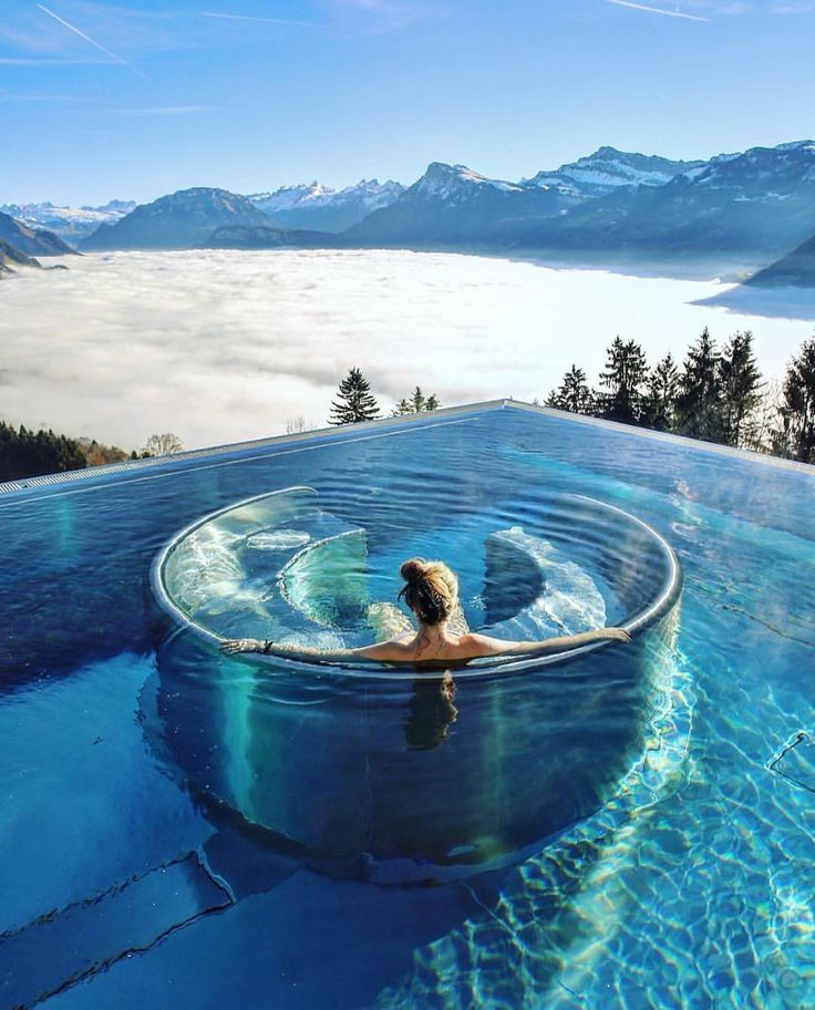 "Hotel Villa Honegg, Ennetbürgen, Switzerland.  The spa at the Hotel Villa Honegg is one of the most delightful wellness facilities in Switzerland. The 34ºC heated outdoor infinity pool, called the ""Stairway to Heaven"", offers stunning views of the mountains and majestic Lake Lucerne."