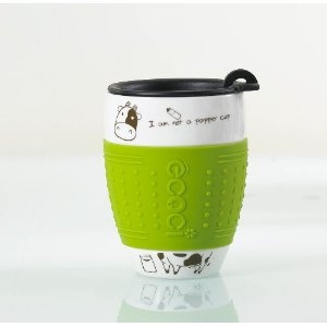 'I'm not a paper cup' - Ceramic Travel Mug with Silicone Grip - 6 Colour Available (Green)