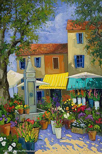 Robert Savignac, 'Marché aux fleurs', 24'' x 36'' | Galerie d'art - Au P'tit Bonheur - Art Gallery
