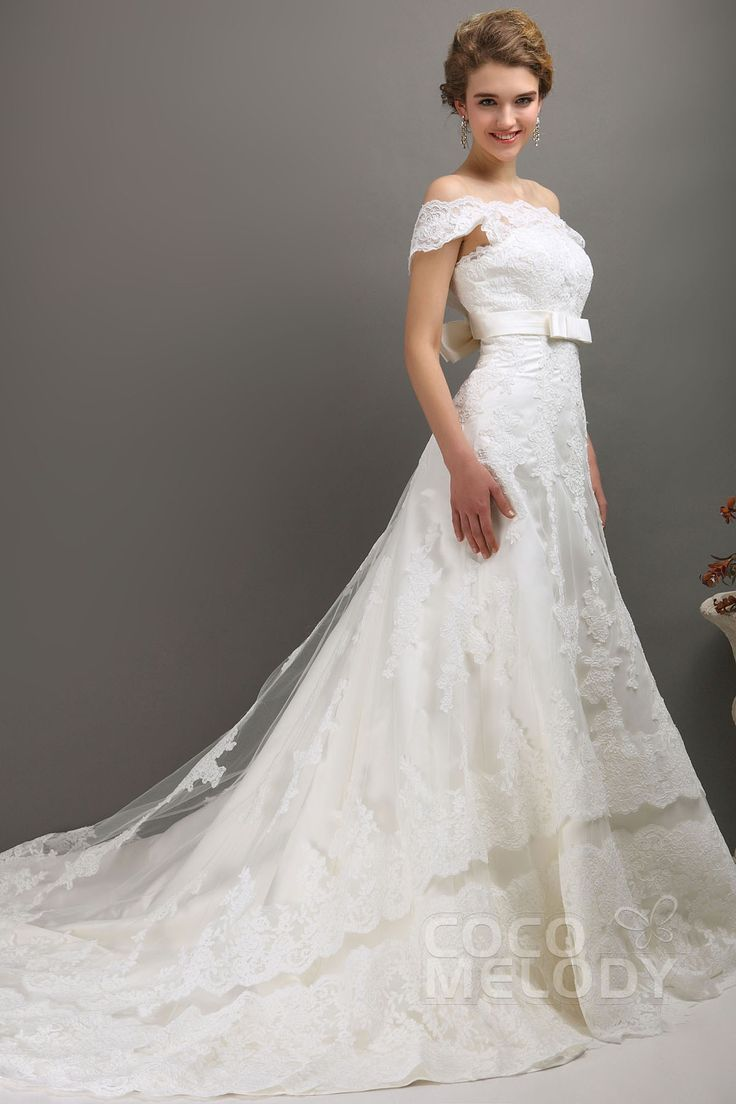 Delicate A-Line Off The Shoulder Chapel Train Lace Wedding Dress CWXT1301D #weddingdress #cocomelody