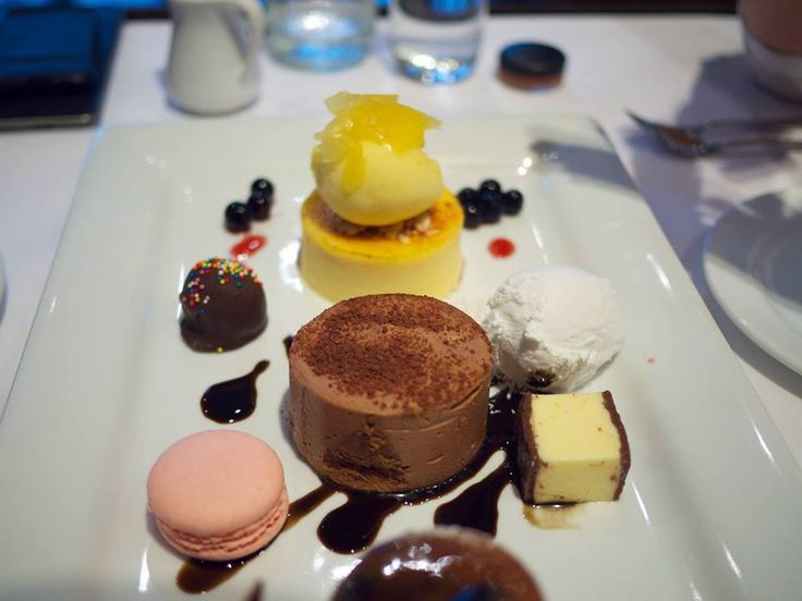 Decadent desserts : Macaroon, Cheesecake, Sorbet and Chocolate ganache.