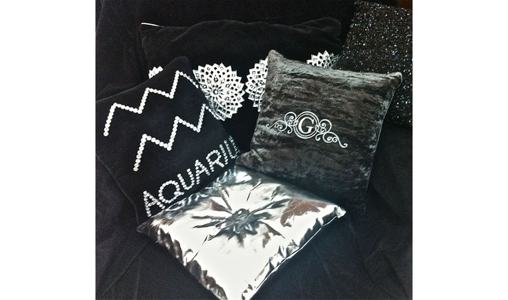 Get into the Ultra-Snob Feel....  Pictured here are Aurora-Shiny Silver, Ultra-Snob Cushion-Victorian-Pewter, Ultra-Snob Zodiac Cushion-Aquarius and Hermes Cushions