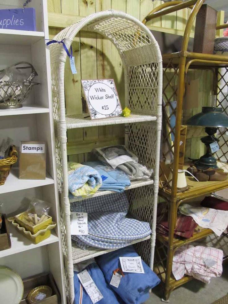White Wicker Shelf, Vendor #188 --- Just reduced! $25    ... ROCKIN B ANTIQUES ... Newnan, GA    ... Questions??? Call >>> (770) 253-8730