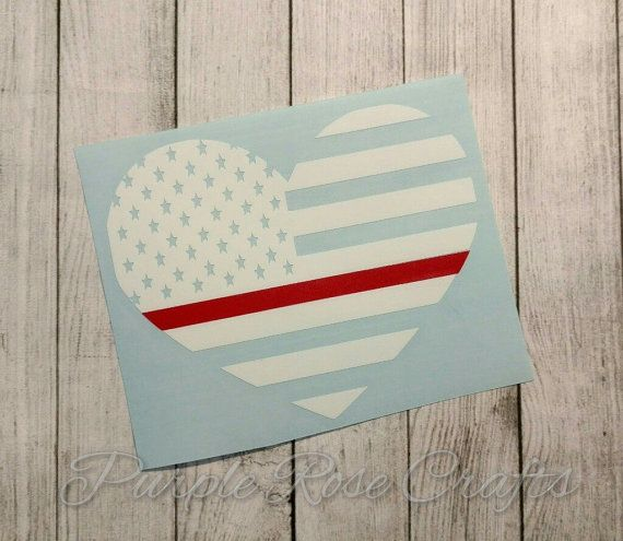Thin Red Line Flag Heart Fireman Firefighter Decal by PRCdecals