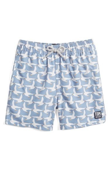 Tom & Teddy 'Pattern Seagulls' Swim Trunks (Toddler Boys, Little Boys & Big Boys) available at #Nordstrom