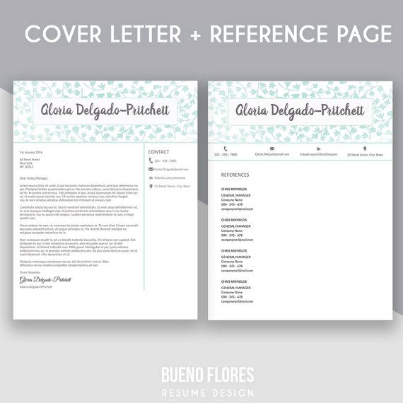 """Introducing """"Gloria Delgado-Pritchett"""" (mint version), an elegant feminine multipurpose design, which includes a two page resume/cv , reference page and cover letter. By Bueno Flores Design"""
