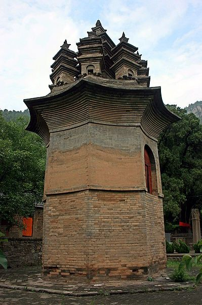 The Nine Pinnacle Pagoda is an 8th-century pavilion-style brick pagoda located in central Shandong Province, China. It is noted for its unique roof design featuring nine small pagodas. The pagoda was erected during the Tang Dynasty between the years 742 and 756 AD.