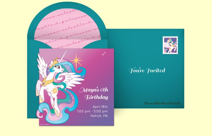 Customizable, free Princess Celestia Prance online invitations. Easy to personalize and send for a My Little Pony birthday party. #punchbowl