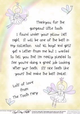 Tooth Fairy Letter hopefully for later rather than sooner.  He is a rough and tumble sort of boy.: