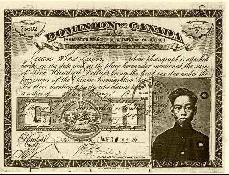 In 1885, federal legislation was passed to restrict the immigration of Chinese into Canada. A fifty-dollar Head Tax was imposed on every Chinese immigrant entering Canada. In January 1901 the tax was increased to $100 per head and raised again in January 1904 to $500.