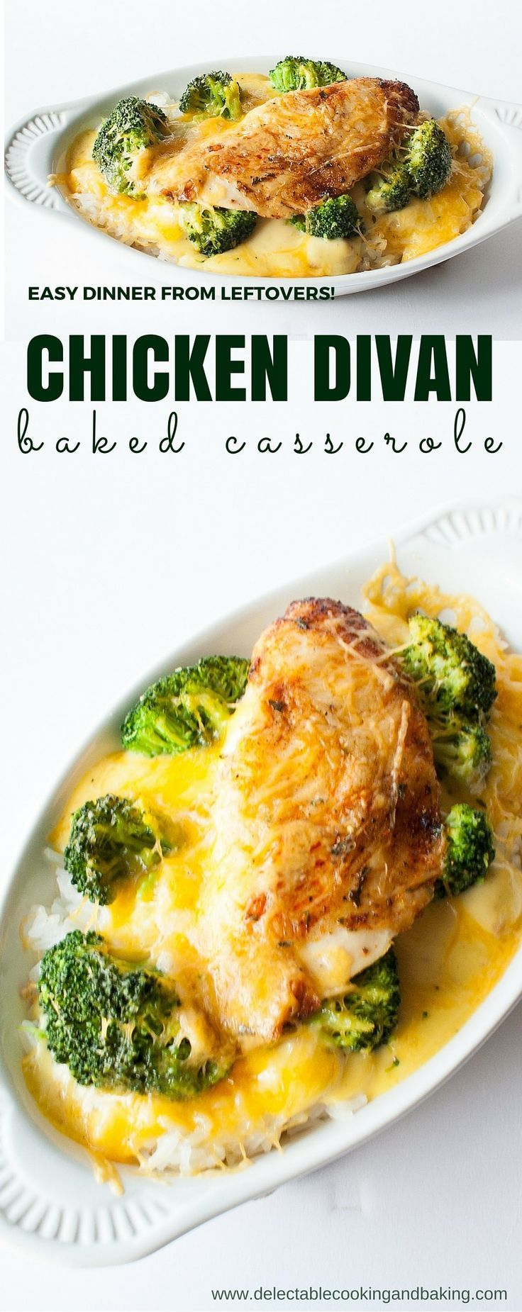 This quick and easy Chicken Divan Bake can be put together with leftovers and thrown in the oven, yet it is such an amazing comfort dish food! I usually get two nights worth of dinner from this dish (or more!)... DelectableCookingandBaking.com | #chickend