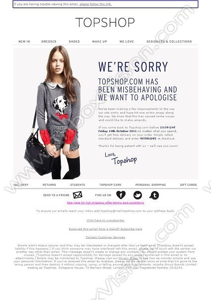 "Brand - TopShop, Subject:""We'd like to make it up to you with free delivery"""