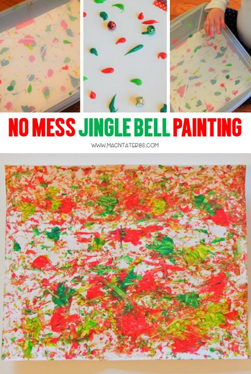 Jingle Bell Painting-This No mess activity is the perfect Christmas activities for babies and toddlers without the mess. No mess sounds heavenly during the busy holiday season doesn't it?
