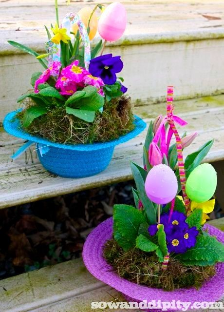Easter Bonnet Planters made from Dollar Store Hats.