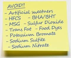 Food Facts - Top 10 Food Additives to AVOID: 1)High Fructose Corn Syrup 2)Monosodium Glutamate (MSG) 3)Trans Fat 4)Food   Dyes 5)Sodium Sulphite 6)Sodium Nitrate 7)BHA & BHT 8)Sulfur Dioxide 9)Potassium Bromate 10)Artificial Sweeteners. How do you do this? STOP eating fast & processed foods. Eat nature-made food, organic & local. theveggiegoddess.com facebook.com/theveggiegoddess