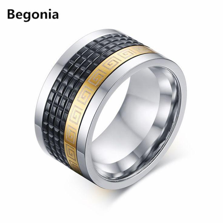 12mm lebar Retro gaya stainless steel mens cincin dengan pola kunci yunani hitam emas disepuh cincin