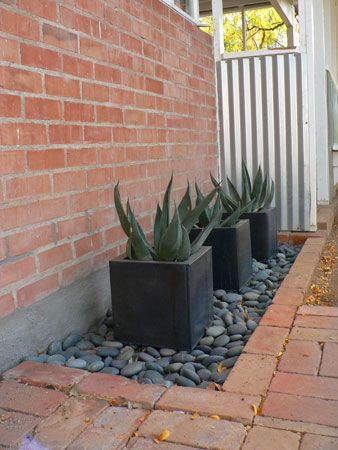 planters with gravel mulch
