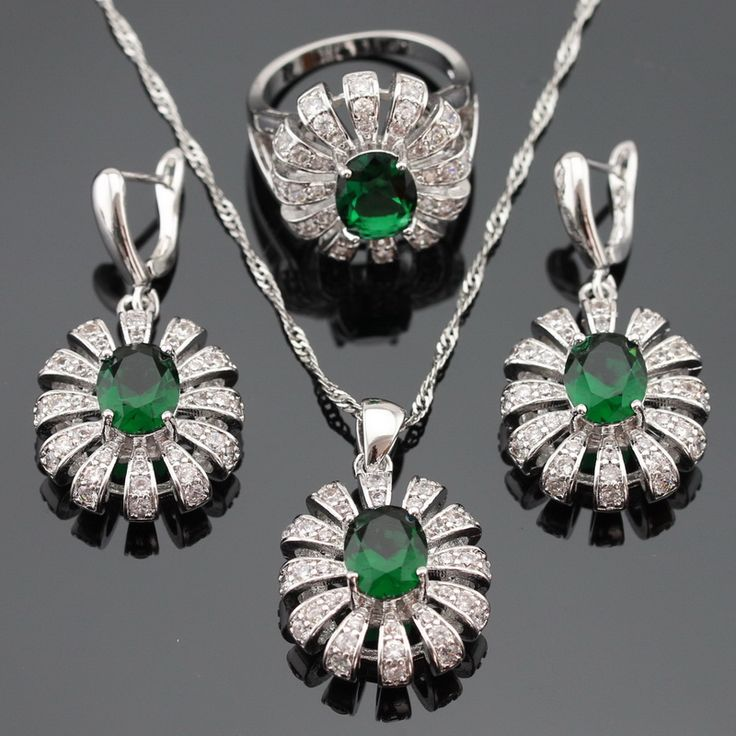 Ashley Silver Color Jewelry Sets For Women Green Imitated Emerald White CZ Necklace Pendant Earrings Rings Free Gift Box