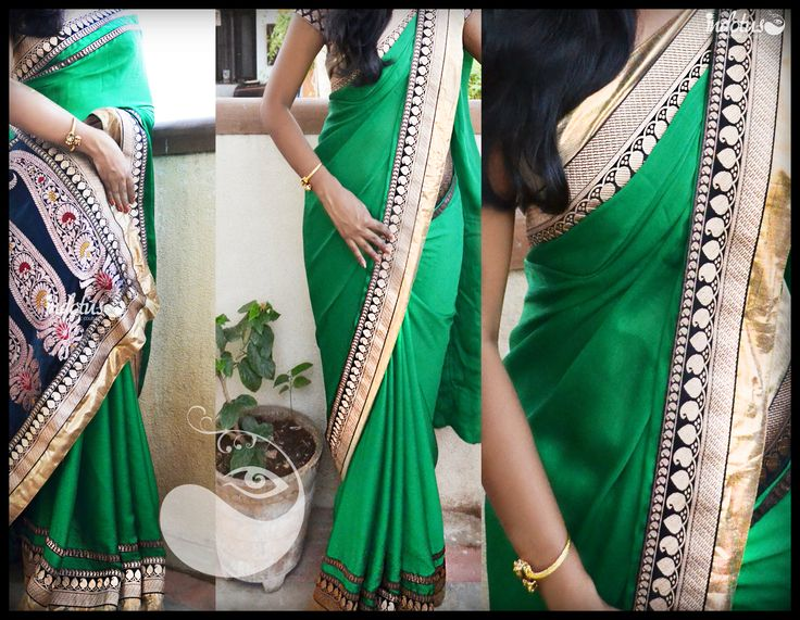 Bottle green chiffon saree finished with leaf motifs with golden border paired with beautiful paisley motif on pallu. Blouse - Black raw silk.