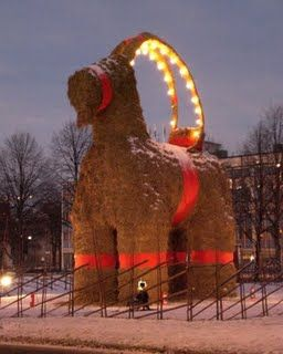 The giant Christmas goat of straw that is constructed every year in Gävle, Sweden