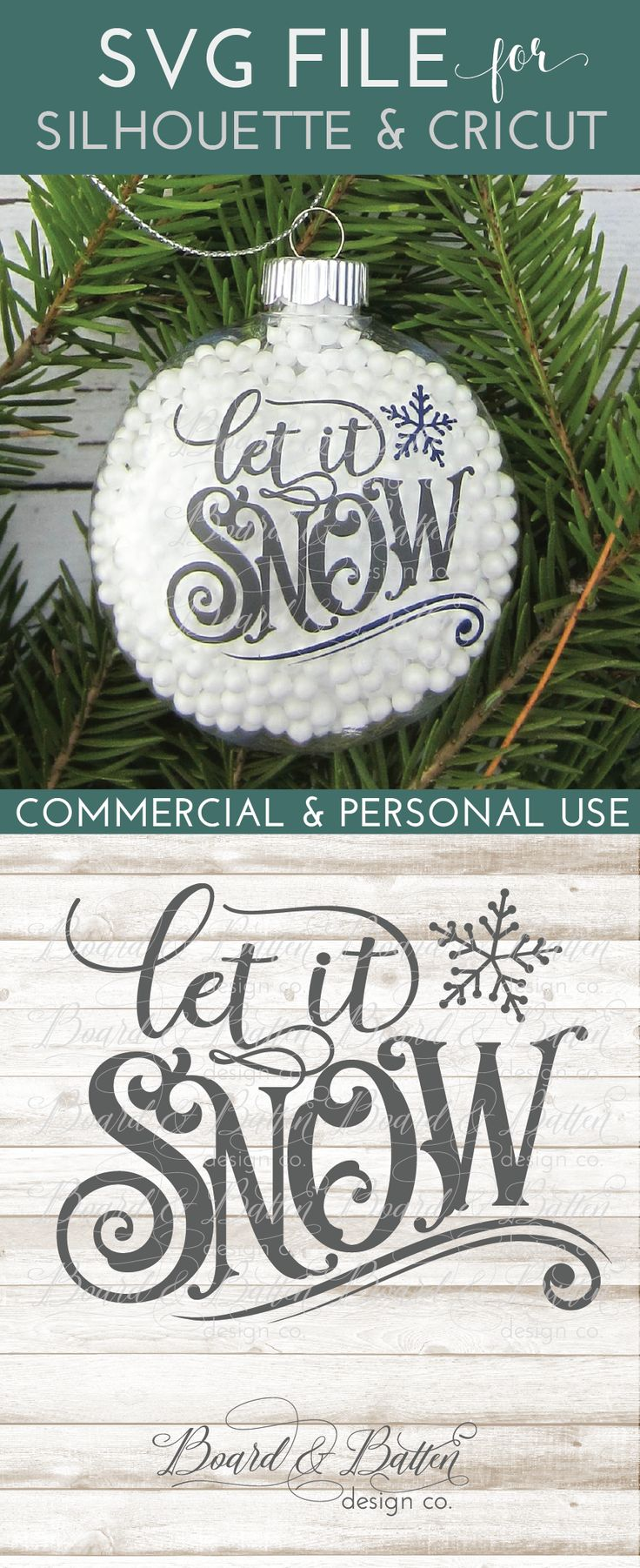 "Any vintage sign lover will adore this gorgeous ""Let it Snow"" SVG file. This Christmassy design for your Cricut/Silhouette is perfect for both big and small projects and would go equally well on an ornament (how about a wood slice?) or even a wooden sign, throw pillow, or t-shirt?"