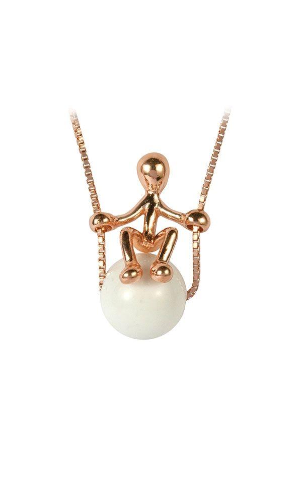 Collana in Argento con Ciondolo in argento in bagno d'oro rosa con agata bianca. Ascolta... la felicità è vicina