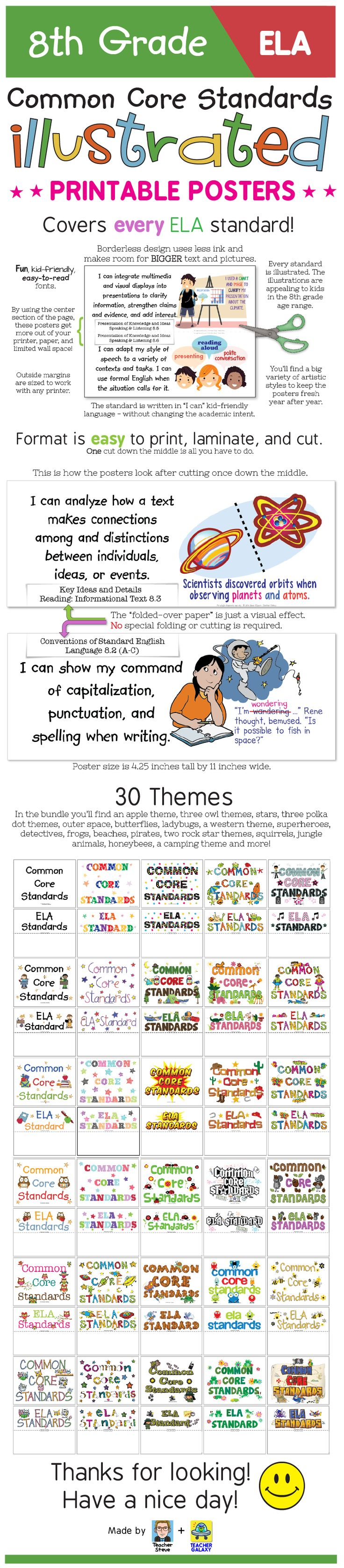 "These posters for the 8th grade English-Language Arts Common Core Standards bring the standard to life and make it easier to understand with age-appropriate illustrations and kid-friendly ""I can"" language. The posters have a unique borderless design that will get the most out of your wall space, paper, and ink. 30 themes to choose from. Or you can use them without a theme. Big, colorful, age-appropriate posters for the eighth grade ELA common core! $"