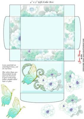 """Gift Cake Box Oriental Peonies on Craftsuprint designed by June Young - This gift/cake box is approx. 4"""" x 3"""" when made up and has floral side panels and a decorated lid. It is very simple to assemble and there is decoupage provided for the flower and butterfly decoration on the lid. - Now available for download!"""