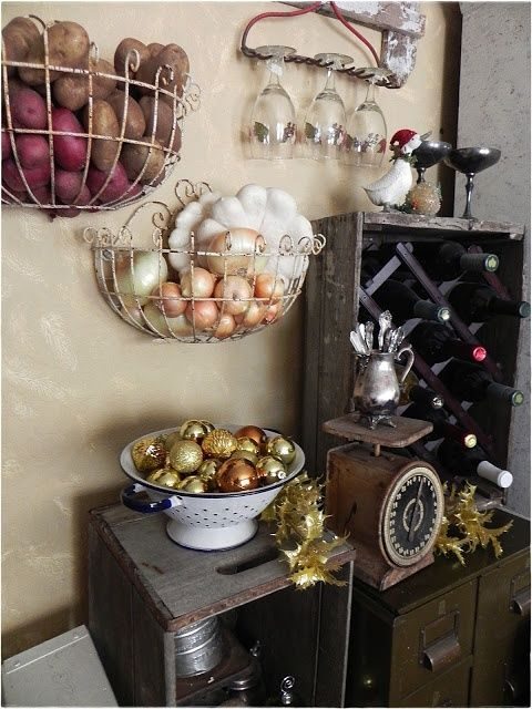 Half round wire basket on walls. Good if you run out of room in the cupboards or for items you use frequently.