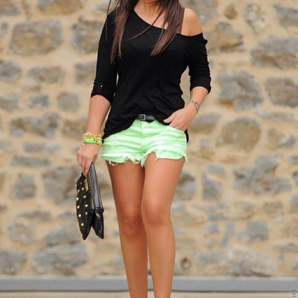 Black Top Mint Shorts and Black Studded Clutch