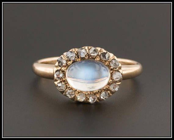 Antique Moonstone & Diamond Ring Antique Moonstone Ring
