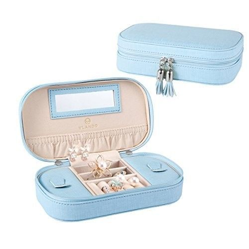 Leather Jewelry Box Organizer Travel Case Earring Ring Necklace Women Girls Blue #Vlando