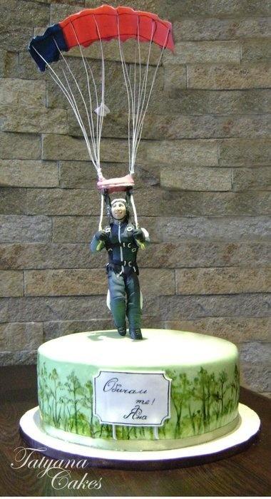 landing by parachute  Cake by tatyana_cakes