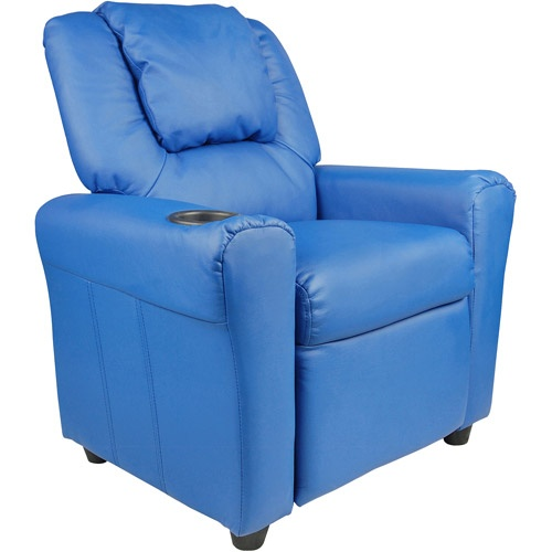 Flash Furniture Kids Vinyl Recliner with Headrest, Kids? Recliners with Cup Holders, Children?s Recliner Chair, Toddler Recliner
