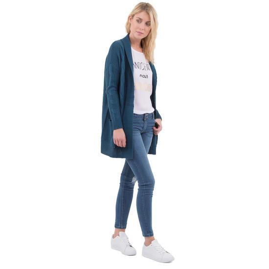 Gilet maille torsadée poches bleu MIM pour maman