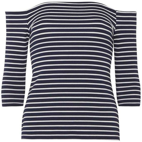 Dorothy Perkins Petite Navy And White Bardot Top ($37) ❤ liked on Polyvore featuring tops, blue, petite, blue striped top, stripe top, navy and white top, navy and white striped top and navy and white stripe top