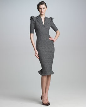 """The silhouette of this dress is a throw back to the classic """"Wiggle Dress"""" of the early 50's and Zac Posen has updated it to perfection. Beautiful dress."""