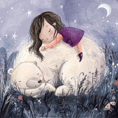 Goodnight bear #illustration #goodnight #bear #blue #girl #purple #colour_collective #kidsbooks #sweetdreams #cute