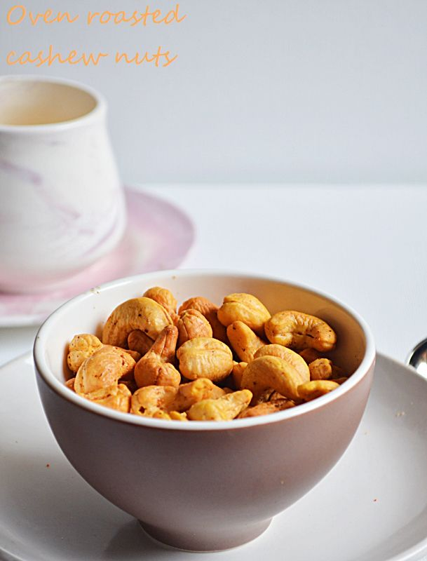 Oven roasted cashew nuts recipe: Quick,delicious and mess free way o roast cashews with very less oil,pairs up as a wonderful starter with any drink,recipe @ http://cookclickndevour.com/2014/09/oven-roasted-cashew-nuts-recipe.html