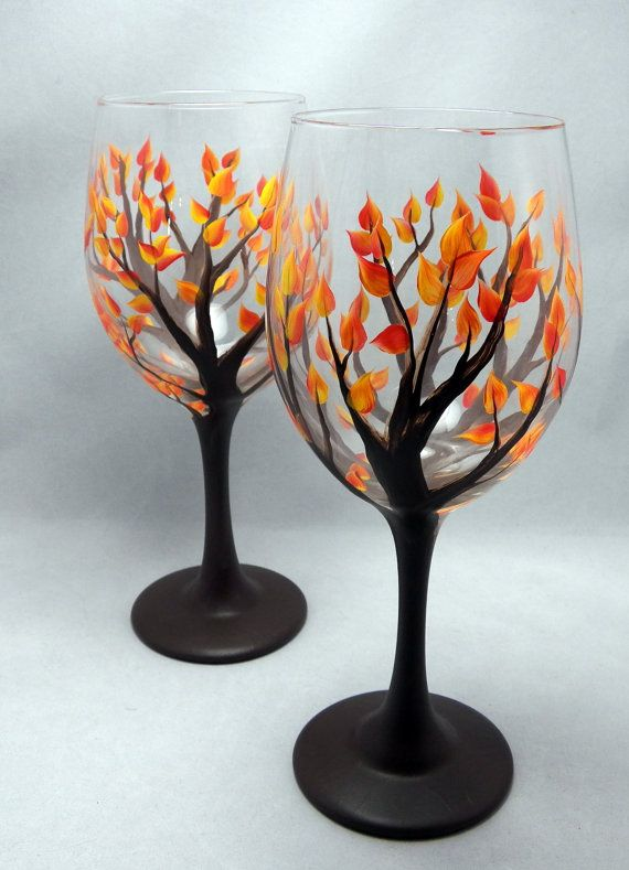 Hand Painted Fall Leaf Wine Glass, 16 or 20oz-Dishwasher Safe Hand Painted Wine Glass-Autumn Tree With Leaves on Etsy, $15.00