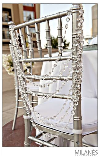Bling Chair. reception wedding flowers,  wedding decor, add pic source on comment and we will update it. www.myfloweraffair.com can create this beautiful wedding flower look.