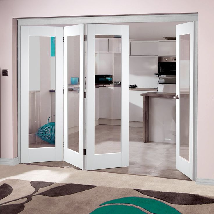LPD Nuvu Doors, Shaker P10 White 4 Door Set 3 to Left - Clear Glass, 2078mm high and 2512mm or 2816mm wide. #whitenuvuinternaldoor #internalwhitefoldingdoor #foldingdoorswhitewithglass