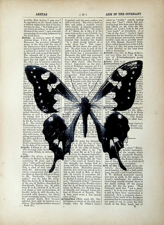vintage book page print... this and some Zentangle... I think I might!