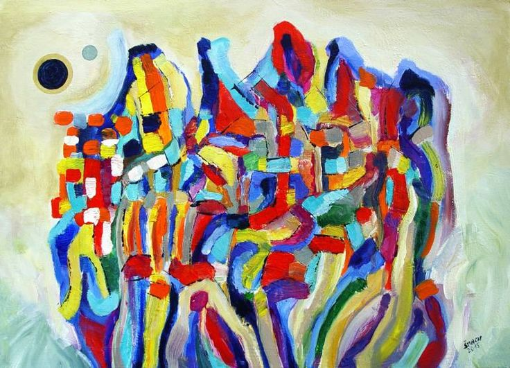Composition SR319, a Acrylic on Canvas by Radek Smach from Czech Republic. It portrays: Abstract, relevant to: rainbow, Kandinskij, colorfull, city, fantasy, abstract, nature Original abstract painting on canvas.  Ready to hang.  No framing required (it can be framed).