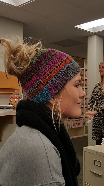 Ravelry: Stacey's Bun Hat pattern by Stacey thorngren - This is THE messy bun hat that's gone viral. Please support the designer and purchase the pattern for $5 at Ravelry