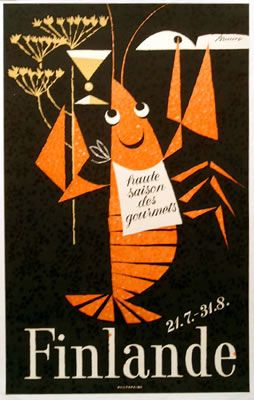 Vintage travel poster, Finland, Braun, 1960, lobster