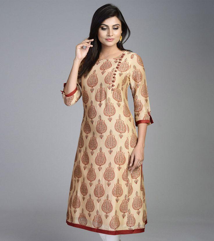 Beige & Red Cotton Silk Printed Awadh Neck Long Kurta